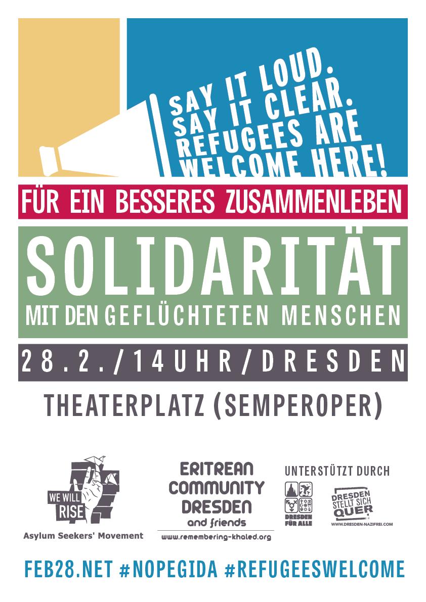 28.02. Dresden Gemeinsam auf die StraÃ�e. gleiche Rechte für alle. Solidarität mit geflüchteten Menschen.